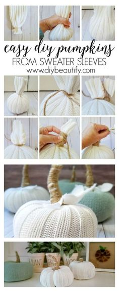 How to Make Pumpkins From Sweater Sleeves These DIY pumpkins are made from sweater sleeves! They're affordably adorable and easy to make. I'm sharing the full tutorial at diy beautify! More from my site Easy diy pumpkins from sweater sleeves Pumpkin Crafts, Diy Pumpkin, Autumn Crafts, Holiday Crafts, Thanksgiving Crafts, Diy Décoration, Easy Diy, Fall Projects, Diy Projects