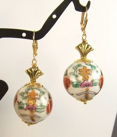 Asian Style Painted Porcelain Earrings by dammas on Etsy