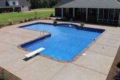 Vinyl Pools Inground, Inground Pool Designs, Backyard Pool Designs, Swimming Pools Backyard, Pool Landscaping, Backyard Ideas, Gravel Patio, Pea Gravel, Coping Stone