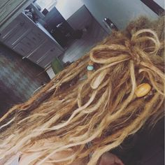 My babies a few months ago #dreads #blonde #curlydreads #dreadbow
