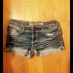 Distressed Dark Wash Jean Shorts . Wallflower  Shorts Jean Shorts