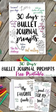 30 Days Bullet Journal Prompts. Journaling made easy with Free Printables to get you started. Start any time of year or for New Years via @KleinworthCo