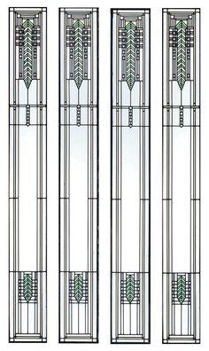 ORLANDO GIANNINI (1860-1928) TWO PAIRS OF STAINED GLASS WINDOWS FOR BRINSMAID HOUSE, DES MOINES, IOWA, 1902