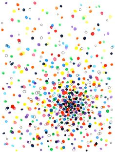 idea for painting: watercolor dots, ink, and pen