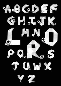 Toilet paper roll alphabet - Artist, Unknown. via Central St. Martin  Found on Sharesomecandy.com