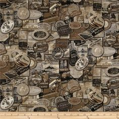 Tim Holtz Eclectic Elements Travel Labels Taupe from @fabricdotcom  Designed by Tim Holtz, this cotton print fabric is perfect for quilting, apparel, crafts, and home decor items. Colors include brown, beige, cream and black.