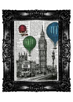 Big Ben London Balloon Flight Ride Upcycled Book Recycled Art Print Art  Upcycled Dictionary Art Page Vintage Book Print  Buy 3 get 4th free. $7.99, via Etsy.
