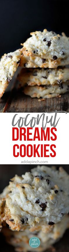 Coconut cookies make a favorite holiday cookie recipe. These Coconut Dream Cookies are filled with mounds of coconut, chocolate, and use coconut oil. // addapinch.com via @addapinch