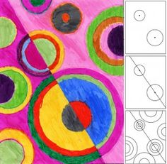 Circles in the style of Sonia Delaunay. Repeat the colors to see what kind of rhythm you can create. Art Projects for Kids #artprojectsforkids.org #delaunay