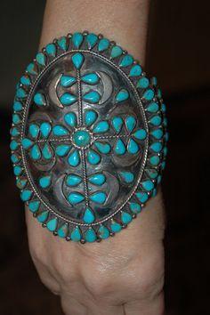 "Huge Heavy Beautiful Vintage Zuni Turquoise Cluster Bracelet - Hallmarked 4 1/4"" tall"