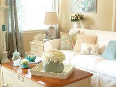 decoração sala branca e azul