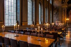 Large tables provide ample seating in the Painted Hall in Greenwhich