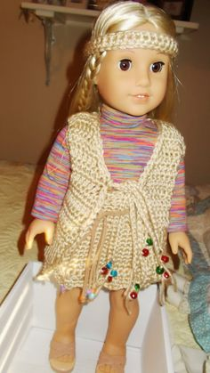 Doll Outfit. Hand Crochet  60's Mini Hippy Style by RedBudCrafts