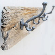 DIY ~ Towel/Coat Hanger using an old rustic piece of wood or driftwood. Just a picture to inspire!