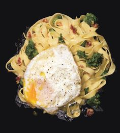 Fettuccine Carbonara with Fried Eggs #JetsetterCurator