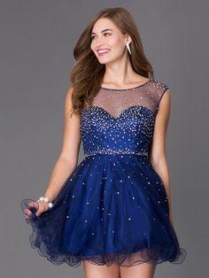 A-Line/Princess Sheer Neck Sleeveless Rhinestone Tulle Short/Mini Dresses