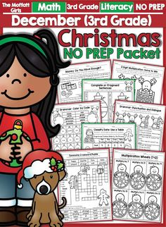 Teach multiplication, two and three-digit addition and subtraction, sight words, grammar, writing and so much more with the December NO PREP Packet for Third Grade!