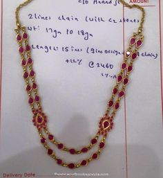 Multilayer Gold Necklace with Side Lockets, Gold Necklace with Side Lockets Ruby Necklace Designs, Jewelry Design Earrings, Gold Jewellery, India Jewelry, Ruby Jewelry, Chain Jewelry, Bridal Jewellery, Jewellery Designs, Beaded Jewelry