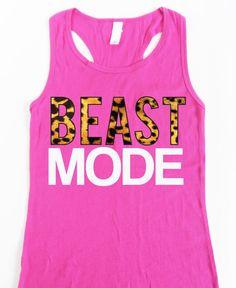 BEAST MODE Leopard on Pink Workout Tank, Workout Clothing, Workout Tanks, Gym Tank, Motivational Workout, Crossfit, Workout Shirt, Fitness