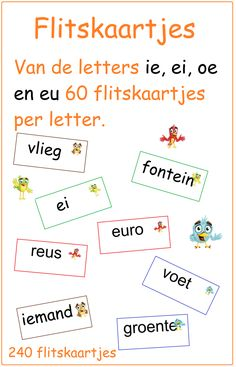 Dubbelklanken flitskaartjes ie, ei, oe en eu - Digibord Onderbouw Co Teaching, Creative Teaching, Spelling For Kids, School 2017, Classroom Language, Kids Writing, My Teacher, School Projects, Kids Learning
