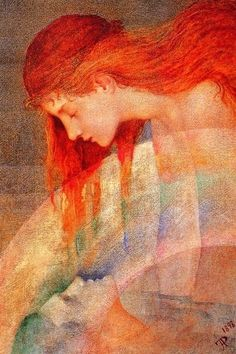 "Phoebe Anna Traquair, ""Love's Testament"" Oil on Canvas, 1898.  Charming depiction of love by Irish Arts & Crafts period artist. R McN"