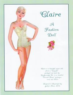 The Paper Collector: Claire paper doll by Judy's Place