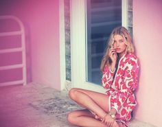 Model Elsa Hosk glows in the dark in 'Hot Pink', styled in super sexy femininity by Elisabetta Massari. David Bellemere casts his sensual eye in Elsa's direction for Marie Claire Italia's February issue./ Hair by Benoit Moeyaert; Elsa Hosk, Dolce & Gabbana, Marie Claire, Anna Y Elsa, Pattern Floral, Img Models, Barbie World, Daily Fashion, Fashion Pics