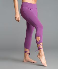 Another great find on #zulily! Suset Purple Palm Lace-Up Crop Leggings #zulilyfinds