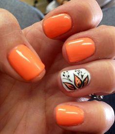 Orange Nails with White Accent in Motives Nail Polishes(Coral Love & Wedding Dress)!   #Nails  #Orange #WeddingDress