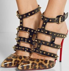 a2bd5a9ee Heel measures approximately 4 inches Leopard-print