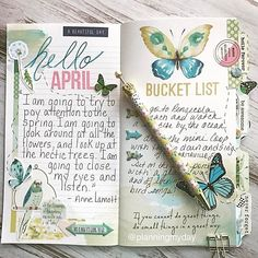 "I always love creating the first two pages in my monthly ""Daisy Dori"" TN! Hello to the New month and a fun bucket list for the month!! @cocoa_daisy #cocoadaisy #daisydori #aprilplanwithcd #travelersnotebook #journal #journaling"