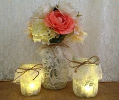 3 lace covered mason jar vases and candle holders perfect for wedding decoration, bridal shower decor or home decor.