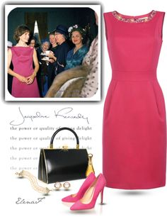 A fashion look from October 2012 featuring short pink dress, black stilettos and j crew jewellery. Estilo Jackie Kennedy, Jacqueline Kennedy Onassis, Jaqueline Kennedy, Cocktail Attire, Black Cocktail Dress, Lovely Dresses, Vintage Dresses, Bright Dress, Fashion Colours