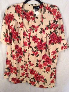 Carole Little Multi-Color Short Sleeve Floral Button Down Blouse Size 22W…