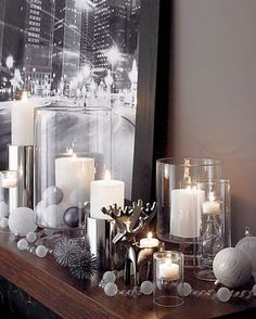 I love simple silver and white for the holidays