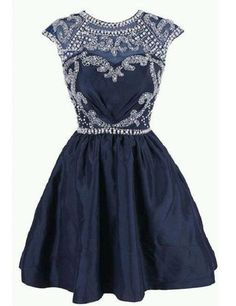 Illusion Neck Navy Taffeta with Beaded Lace Homecoming Dresses,Short homecoming dress