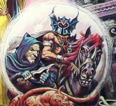 Warduke astride his nightmare, with Foxfingers, as depicted on the cover of Advanced Dungeons & Dragons Coloring Book: The Crown of Rulership (1983). Art by Earl Norem.
