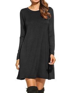 Bluetime Women's Winter Fall Basic Long Sleeve Casual Loose Dress – Shop2online best woman's fashion products designed to provide