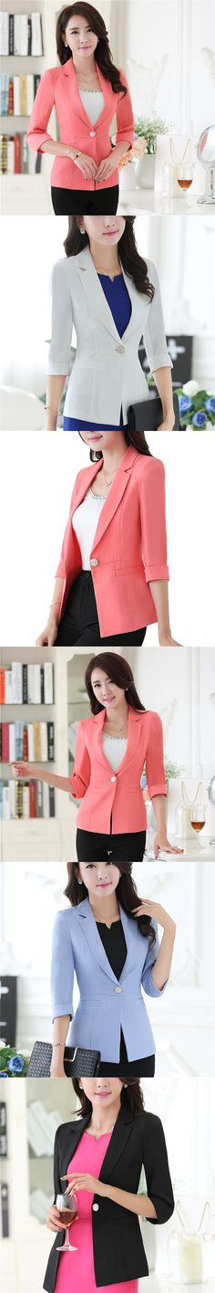 Women Blazers & Jackets Half Sleeve With Turnback Cuffs Blazer Coat Casual Single Button Outerwear Slim Blazer Feminino OL style