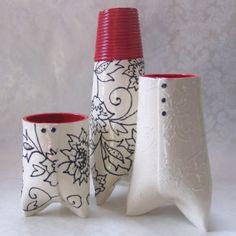black & white & red #ceramic vases
