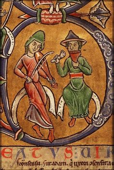 The Hague, Koninklijke Bibliotheek 76 E fol. Just possibly this could be a panpipe+rattle combination. Medieval Music, Medieval Art, Medieval Manuscript, Illuminated Manuscript, Music Artwork, Art Music, Early Modern Period, Late Middle Ages, Examples Of Art