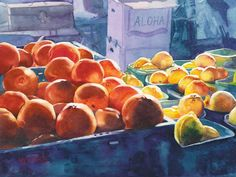"""Original watercolor painting titled """"Citrus Bliss"""" of oranges and lemons at a farmer's market in upcountry Maui Watercolor Techniques, Watercolor Paintings, Watercolor Ideas, Watercolors, Lemon Painting, Oranges And Lemons, Fruit And Veg, Maui, Giclee Print"""