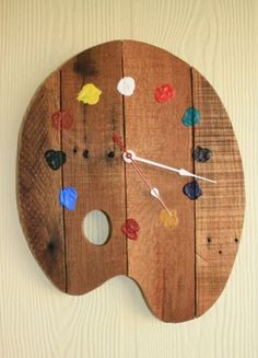 palette wall clock made of palettes - artist palette . - Artist palette wall clock made of pallets – Artist palette -Artist palette wall clock made of palettes - artist palette . - Artist palette wall clock made of pallets – Artist palette - Palette Wall, Palette Diy, Woodworking Projects, Diy Projects, Woodworking Clock Ideas, Pallet Projects, Pallet Crafts, Fine Woodworking, Project Ideas