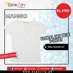 Product: Floral Sky Blue T-shirt  Brand: Mango  Price: Rs. 399  #Children #Girls #Dress #Shirts #Tshirts Tops #Karachi #Lahore #Islamabad #OnlineShopping #ExpoCity #Kids #BabyGirls #CashOnDelivery #Apparel #PartyWear #Pakistan #PakistanShopping #Stylish #Plain #Casual #Colorful #Mango