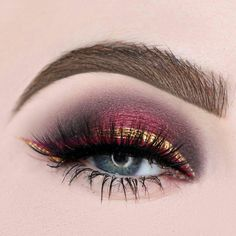 Modern Eye Makeup Ideas~ Bold and Beautiful with Cranberry's and Gold Shimmer