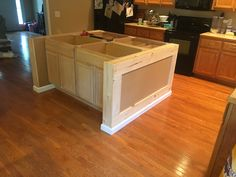 Discover portable kitchen island with breakfast bar only in shopy home design Kitchen Island Using Stock Cabinets, Portable Kitchen Island, Rustic Kitchen Island, Rustic Kitchen Design, Kitchen Redo, Kitchen Remodel, Kitchen Islands, Kitchen Ideas, How To Build Kitchen Island With Seating