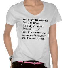 Funny fiction writer answer sheet t-shirt *