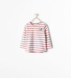 ZARA - ENFANTS - T-shirt à rayures avec applique