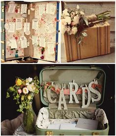 vintage suitcases as wedding decor! Cute Wedding Ideas, Wedding Trends, Diy Wedding, Rustic Wedding, Dream Wedding, Wedding Inspiration, Wedding Maps, Wedding Vintage, Wedding Favors