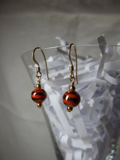 Glamorous Gold Plated Czeck Lampwork Earrings by ktm1353 on Etsy